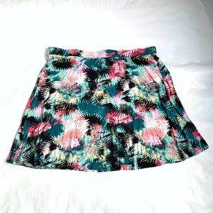 Mini skirt palm leaves jersey knit elastic waist